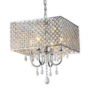 Warehouse of Tiffany 4-Light Chrome Transitional Cage Chandelier