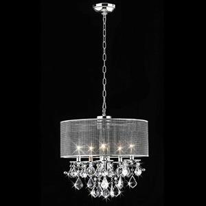 Warehouse of Tiffany Transitional Drum 18-in Chrome 5-Light Chandelier