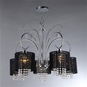 Warehouse Of Tiffany Transitional Shaded 26-in Chrome 5-Light Chandelier