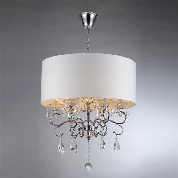 Warehouse of Tiffany Transitional Shaded 22-in Silver 6-Light Chandelier