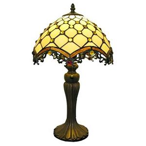 Warehouse of Tiffany Roman 21-in with Bronze Base and Amber Glass Shade Table Lamp