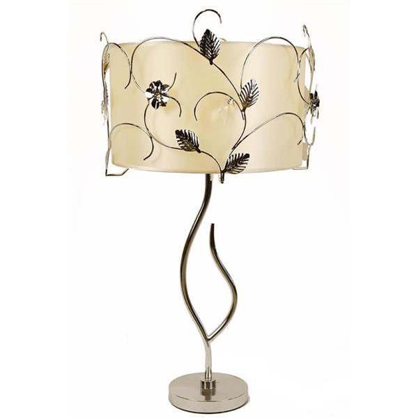 Warehouse of Tiffany Gardenia 30-in with Chrome Base, Accents and Peach Cream Fabric Shade Table Lamp