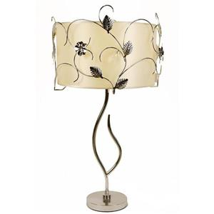 Gardenia 30-in with Chrome Base, Accents and Peach Cream Fabric Shade Table Lamp