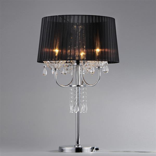 Warehouse of Tiffany Victoria 28- in with Chrome Base, Hanging Crystals and Black Fabric Shade Table Lamp