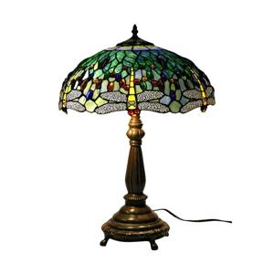 Warehouse of Tiffany 22-in with Bronze Base and Multi Coloured Shade Table Lamp