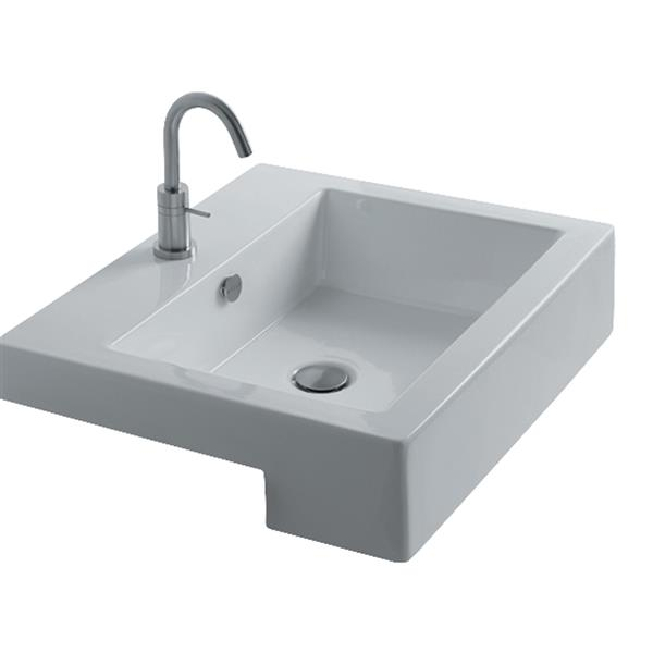 WS Bath Collections Whitestone White Ceramic Drop-in Square Bathroom Sink with Overflow