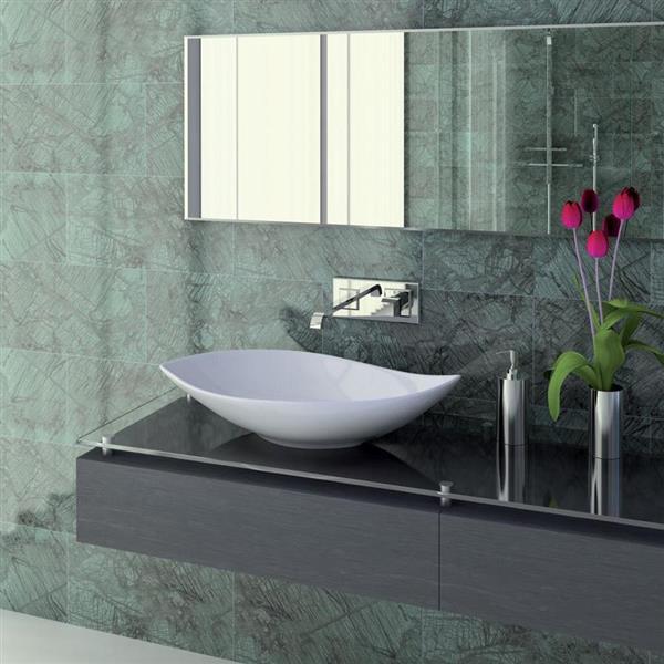 WS Bath Collections Ceramica White Ceramic Elliptical Vessel Bathroom Sink (Drain Included)