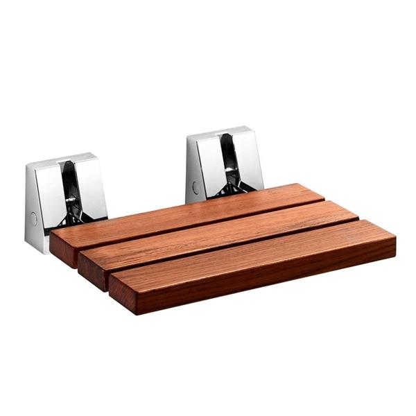 WS Bath Collections Wall Mount Shower Seat Natural Teak Chrome