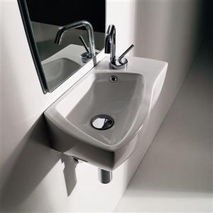 WS Bath Collections Kerasan White Ceramic Wall-Mount Rectangular Bathroom Sink with Overflow