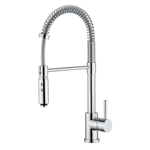 WS Bath Collections Linea Polished Chrome 21-in Lever-Handle Deck Mount Pull-Down Kitchen Faucet