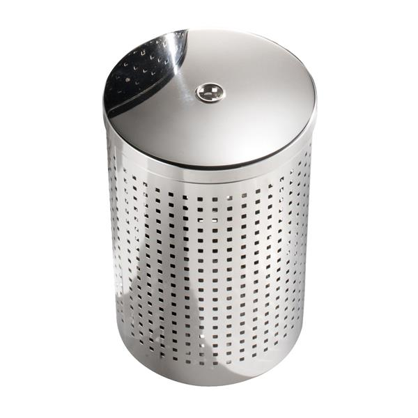 WS Bath Collections Complements 17 Liter Stainless Steel Indoor Trash with Lid