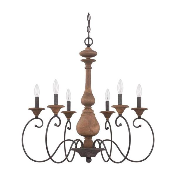 Quoizel Auburn 6-Light Brushed Nickel Traditional Seeded Glass Candle Chandelier