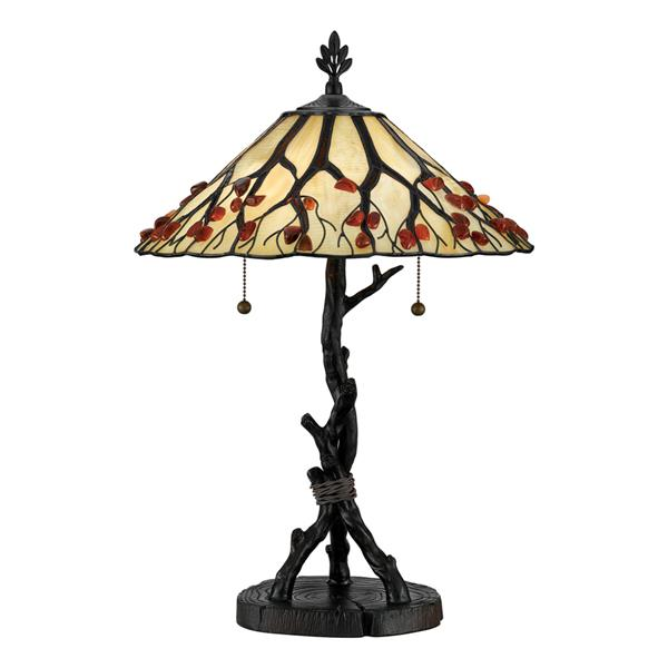 Quoizel Whispering Wood 26-in Western Bronze Table Lamp with Glass Shade