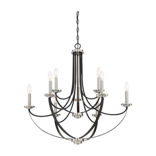 Quoizel Alana 9-Light 2-Tier Rustic Black Wrought Iron Candle Chandelier