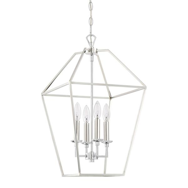 Quoizel Aviary 13-in Brushed Nickel Traditional Cage Style 4-Light Pendant Lighting