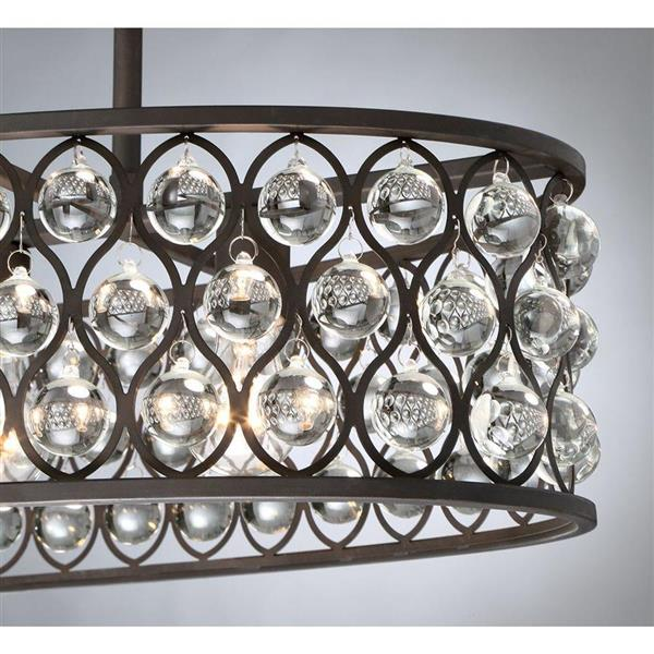 Quoizel Alexandria 33-in W 4-Light Palladian Bronze Transitional Kitchen Island Light with Clear Shade