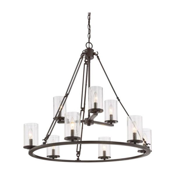Quoizel Buchanan 9-Light 2-Tier Tuscan Brown Transitional Chandelier