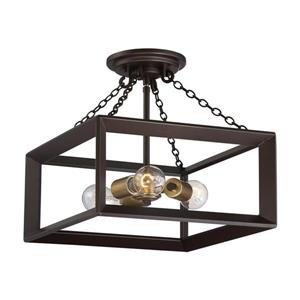 Quoizel Brook Hall 3-Light Bronze 14-in x 14-in x 13-in Semi-Flush Mount