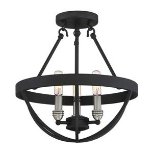 Quoizel Basin 3-Light Black 14-in x 14-in x 15-in Semi-Flush Mount