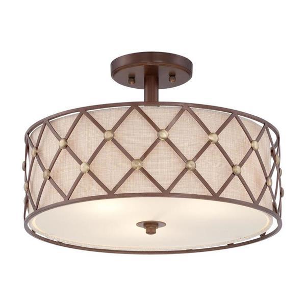Quoizel Brown Lattice 3-Light Copper 17-in x 17-in x 11-in Semi-Flush Mount
