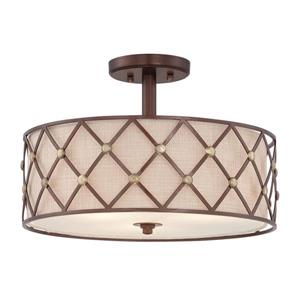 Quoizel Brown Lattice 3-Light Copper 17-in x 17-in x 11-in Semi-Flush Mount