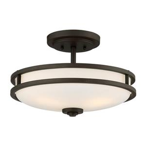 Quoizel Cadet 3-Light Bronze 15-in x 15-in x 9-in Semi-Flush Mount
