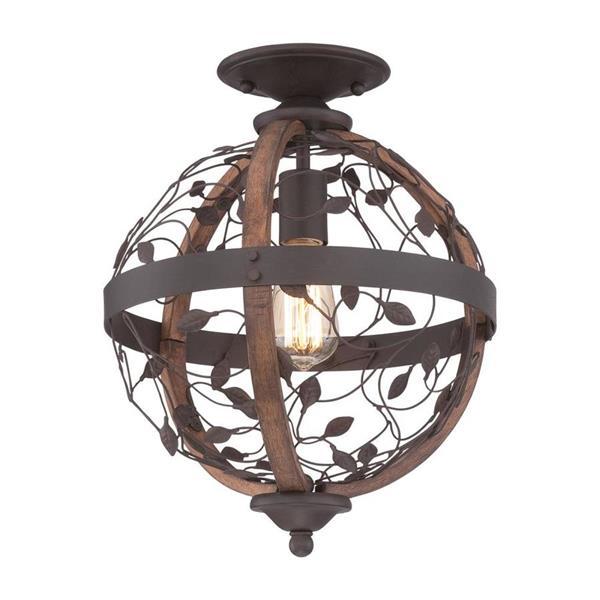 Quoizel Chamber 12.5-in W Darkest Bronze Flush Mount Light