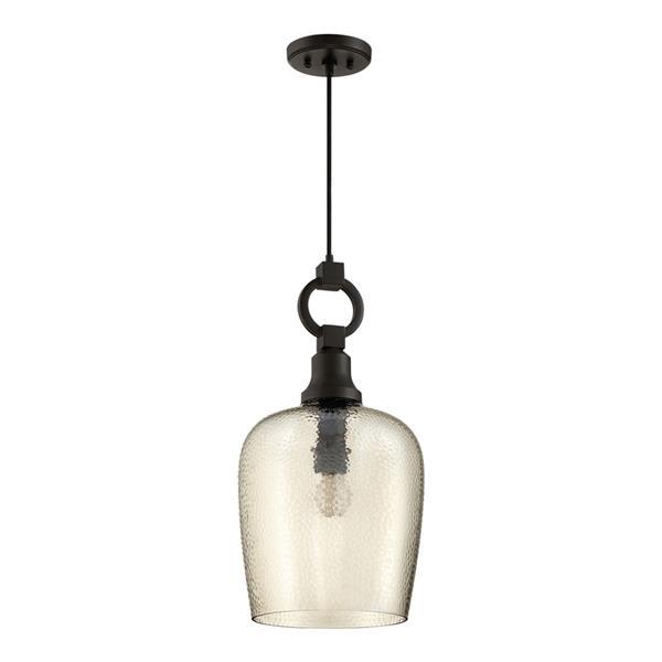 Quoizel Kendrick 11.5-in Mottled Black Transitional Bell Pendant Lighting