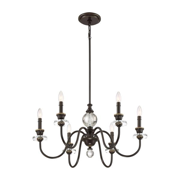 Quoizel Ceremony 6-Light Tuscan Brown Traditional Candle Chandelier