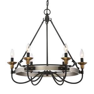 Quoizel Castle Hill 6-Light Polished Chrome Transitional Etched Glass Candle Chandelier