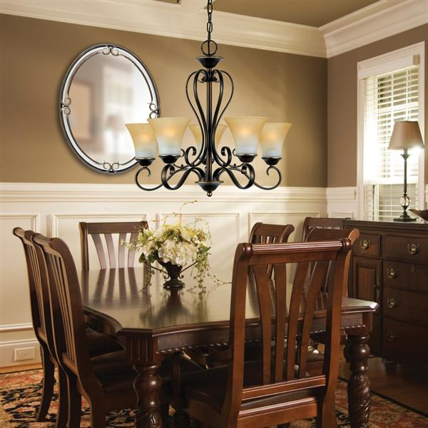 Quoizel Duchess 5-Light Dusk Bronze Transitional Etched Glass Shaded Chandelier