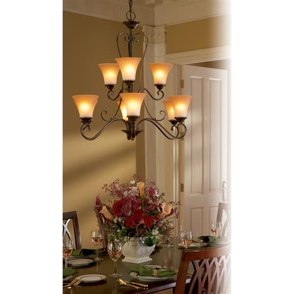 Quoizel Duchess 9-Light Palladian Bronze Traditional Shaded Chandelier