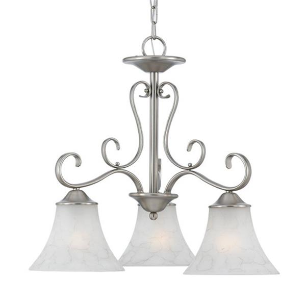 Quoizel Duchess 3-Light Polished Chrome Transitional Etched Glass Shaded Chandelier