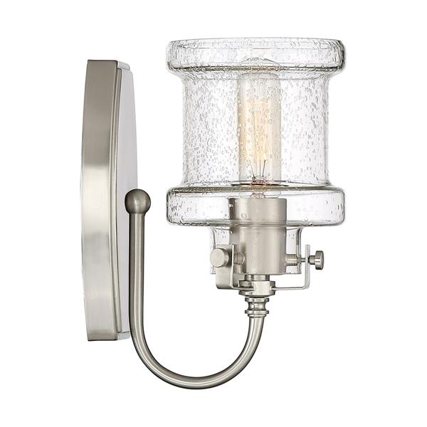 Quoizel Danbury 5-in x 9-in Brushed Nickel 1-Light Cylinder Vanity Light