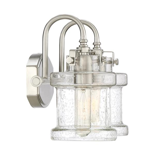 Quoizel Danbury 16-in x 9-in Brushed Nickel 2-Light Cylinder Vanity Light