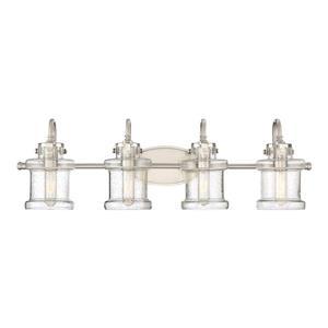 Quoizel Danbury 32-in x 9-in Brushed Nickel 4-Light Cylinder Vanity Light