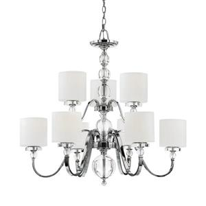 Quoizel Downtown 9-Light 2-Tier Italian Fresco Transitional Shaded Chandelier