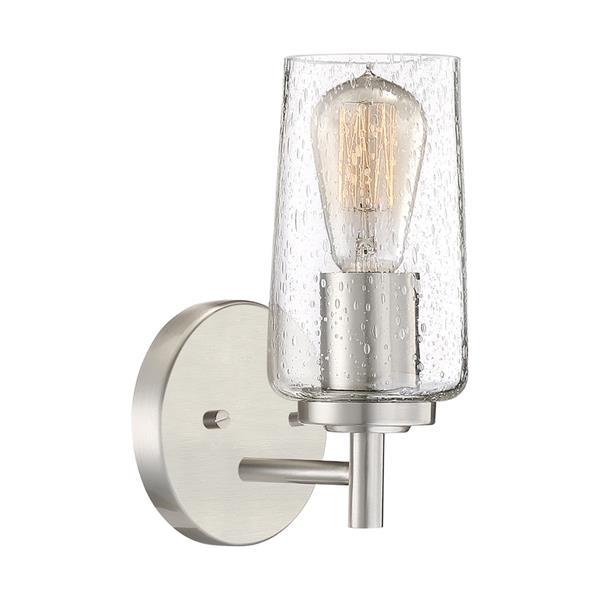Quoizel Edison 5-in x 10-in Brushed Nickel 1-Light Cylinder Vanity Light