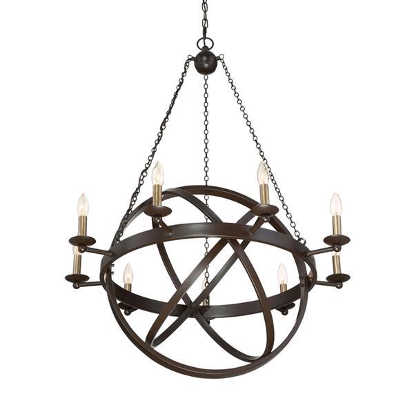 Quoizel Eons 9-Light Western Bronze Transitional Globe Chandelier