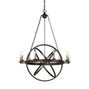 Quoizel Eons 9-Light Western Bronze Transitional Globe Chandelier
