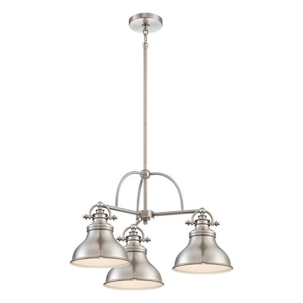Quoizel Emery 3-Light Antique Nickel Modern/Contemporary Marbleized Glass Shaded Chandelier