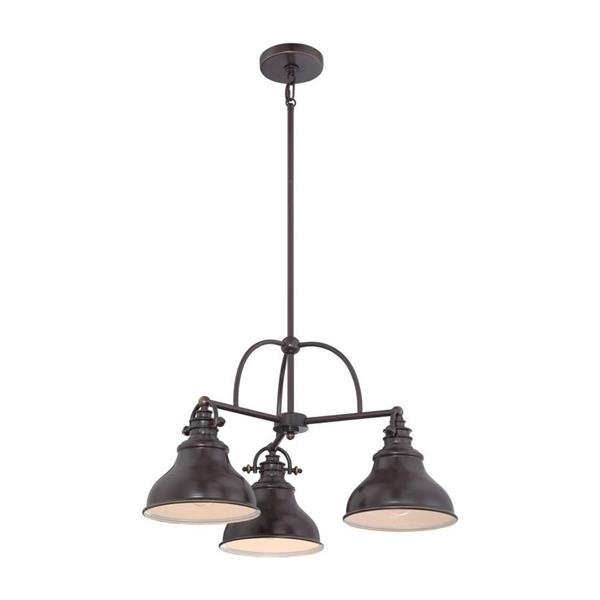 Quoizel Emery 3-Light Western Bronze Modern/Contemporary Seeded Glass Shaded Chandelier