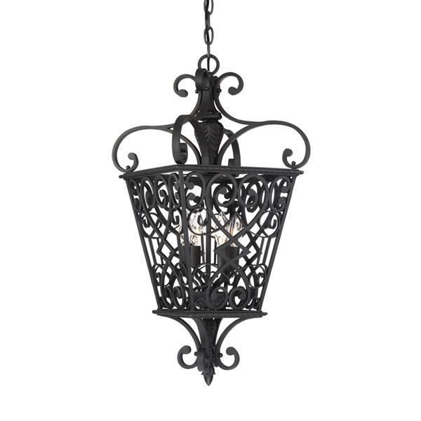 Quoizel Fort Quinn 18-in Vintage Bronze Traditional Pendant Lighting