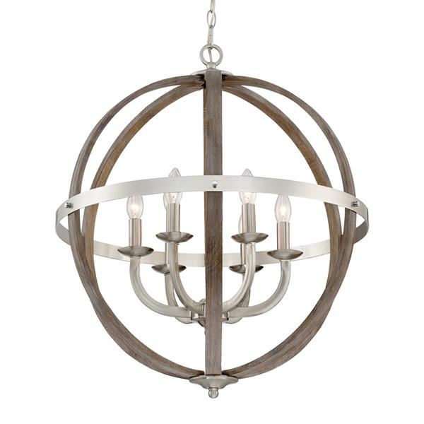 Quoizel Fusion 24.5-in Western Bronze Transitional Globe Cage Pendant Lighting