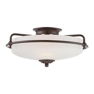 Quoizel Griffin 17-in W Palladian Bronze Flush Mount Light