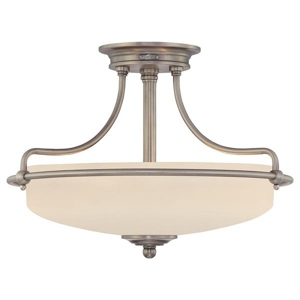 Quoizel Griffin 3-Light Antique Nickel 17-in x 17-in x 12-in Semi-Flush Mount