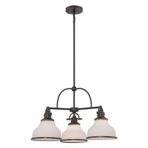 Quoizel Grant 3-Light Brushed Nickel Modern/Contemporary Shaded Chandelier