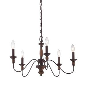 Quoizel Holbrook Iron Gate 5-Light Traditional Marbleized Glass Candle Chandelier