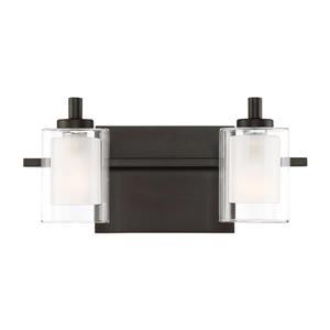 Quoizel Kolt 13-in x 6-in Brushed Nickel 2-Light Cylinder LED Vanity Light