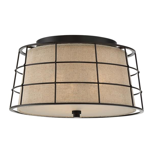 Quoizel Landings 16-in W Mottled Cocoa Flush Mount Light